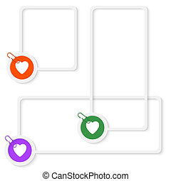 set of three vector boxes for any text with heart and paper clip