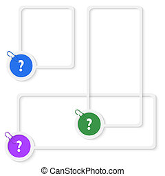set of three vector boxes for any text with question mark ...