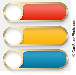 set of three vector buttons