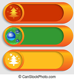 set of three vector buttons with a Christmas theme