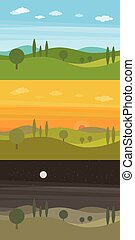 Set of three vector flat landscapes with green hills and trees and clouds in the sky in three different times of day