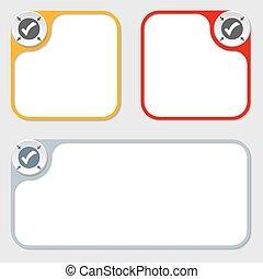 set of three vector frames and check box