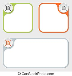 set of three vector frames and document icon