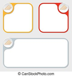 set of three vector frames and envelope