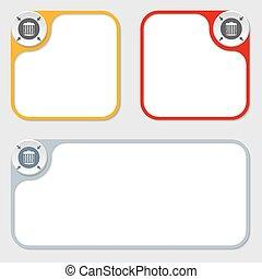 set of three vector frames and trashcan symbol