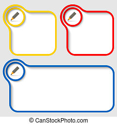 set of three vector text frames with pencil