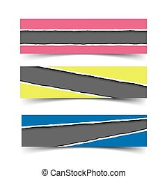 Set of three vector torn paper banners