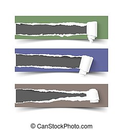 Set of three vector torn paper banners with rolls