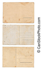 Set of three vintage postcards isolated on white