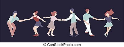 Set of three Young couple dancing swing, rock or lindy hop. Retro in flat style hand drawn. Disc cover, social network, dance competition, illustration of dance courses. Clip art people dancing isolated
