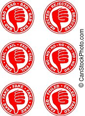 Set of thumbs down stamps