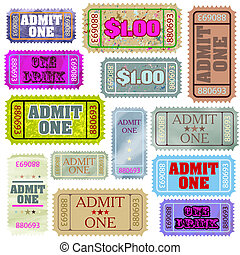 Set of ticket admit one. EPS 8 vector file included