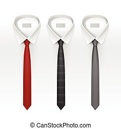 Set of Tied Striped Colored Silk Ties and Bow Collection Vector Realistic Illustration Isolated on White Background