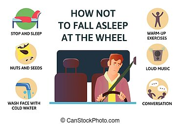 Set of tips to stay awake while driving. Sleep deprivation....