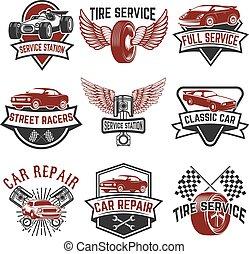 Set of tire service, car repair labels. Pistons, car wheels, repair tools. Design elements for logo, emblem, sign. Vector illustration
