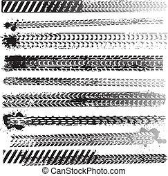 Set of tire tracks - Set of grunge dirty tire tracks
