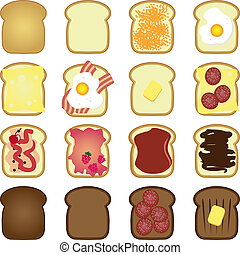 set of toasts - set of sliced white brown bread toast in...