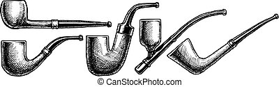 Set of tobacco pipes on white background