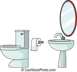 Set of toilet element