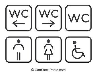 Set of toilet icons - disabled, infant, men, women.