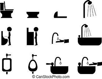 Set of toilet icons in silhouette style, vector