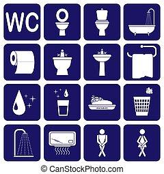 Set of toilet icons on blue background