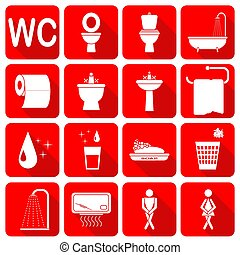 Set of toilet icons on red background