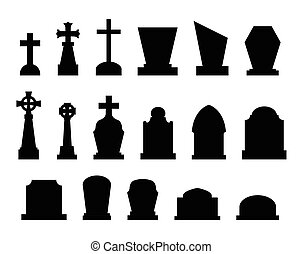 Set of tombstones with different forms.
