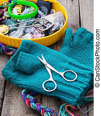 weaving,sewing and embroidery - set of tools and blanks for...