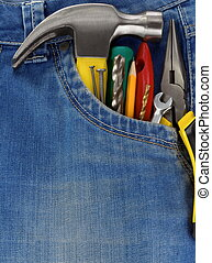 set of tools and instruments in jeans