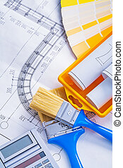 set of tools blueprints paintbrushes calculator paint can color