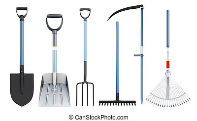 Set of tools for agriculture. 3d rendering. - Set of tools ...