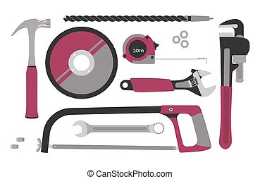 Set of tools for construction and repair in flat style. Vector illustration.