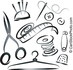 set of tools for sewing, the silhouette