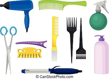 Set of tools for the hairdresser. Vector illustration on a white background.