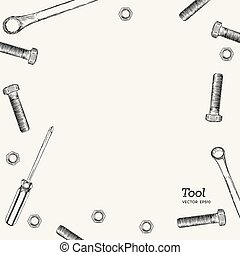 set of tools , hand draw vector style.