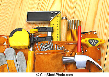 set of tools in belt