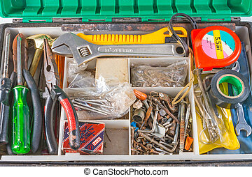set of tools in box