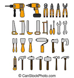 Set of tools in flat style. illustration for design and web.