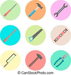 set of tools in the colored circles