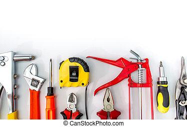 set of tools isolated on white background