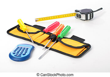 Set of tools isolated over white.