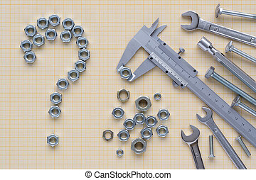 Set of tools on graph paper