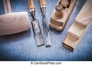 Set of tools on metallic background construction conc