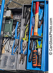 set of tools on toolbox DIY - Toolset with interior...
