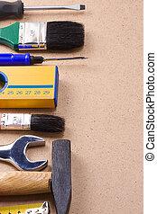 tools on wood texture