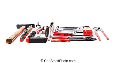 Set of tools over white isolated background