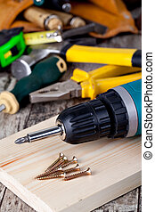 set of tools wooden background