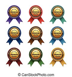 Set of Top Quality Golden labels with Ribbons