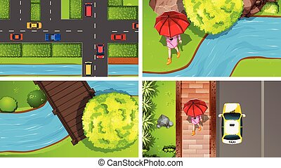 Set of top view aerial scenes in nature and outdoors